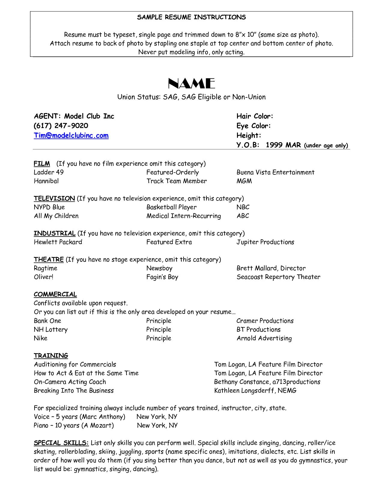 Sample Of Acting Resume Template Resumecareer Info