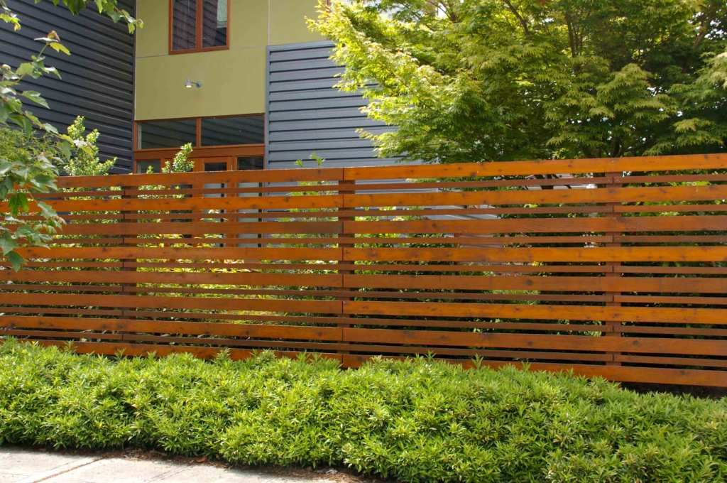 Exterior Horizontal Fence From Brown Wooden Teak Wood With The