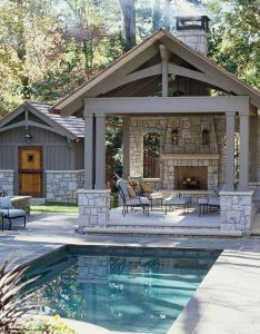 Outdoor living space features small pool house covered patio with fireplace and interesting architectural also     love to have enough room in my yard for rh pinterest