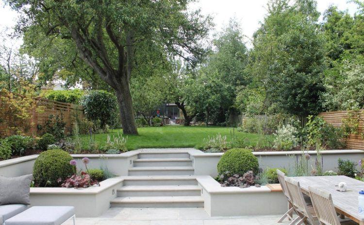 senkgarten sitzplatz gestalten modern betonplatten sichtschutz, Garten und erstellen