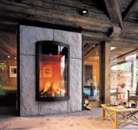 Wood-burning fireplace / double-sided / closed hearth ...