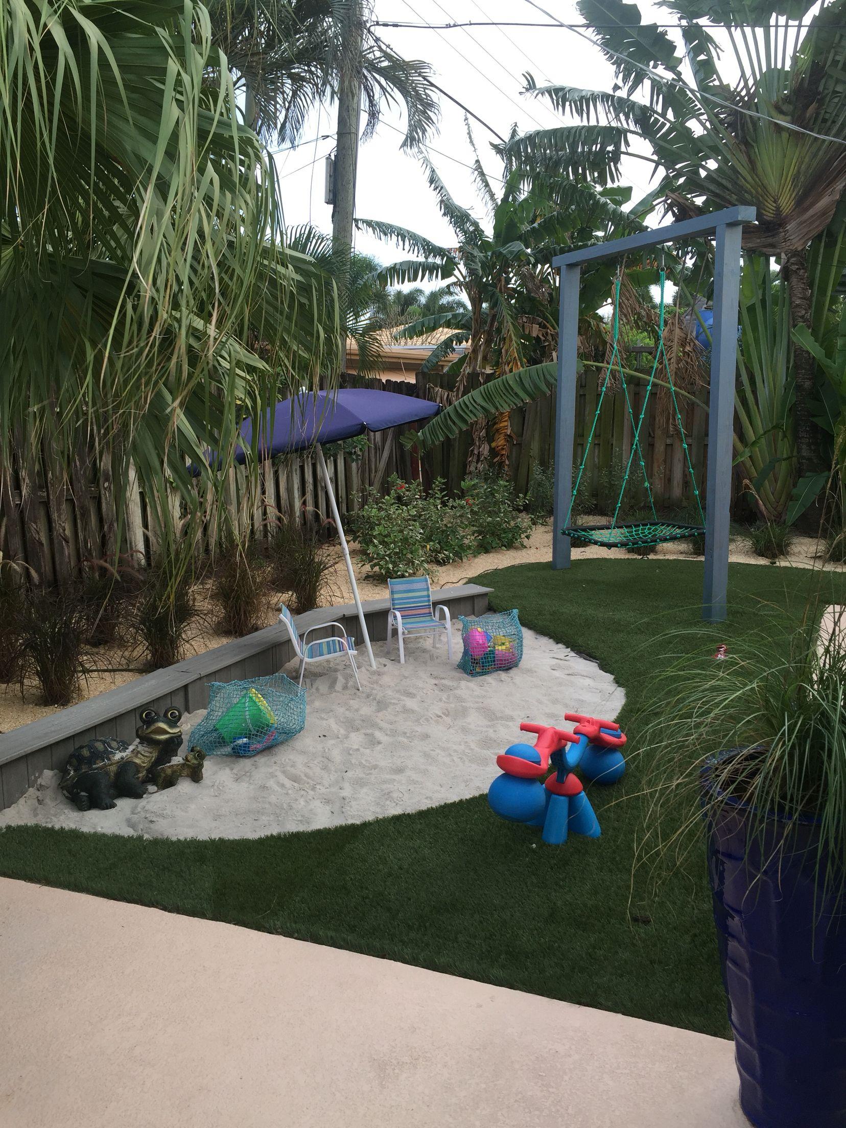 Backyard beach ,Modern sandbox, Platform swing ,Coastal