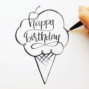 birthday happy sketch hand font lettered sketches drawing pretty calligraphy