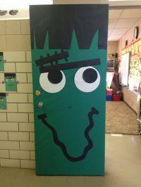My Frankenstein door for Halloween!! | door decoration ...