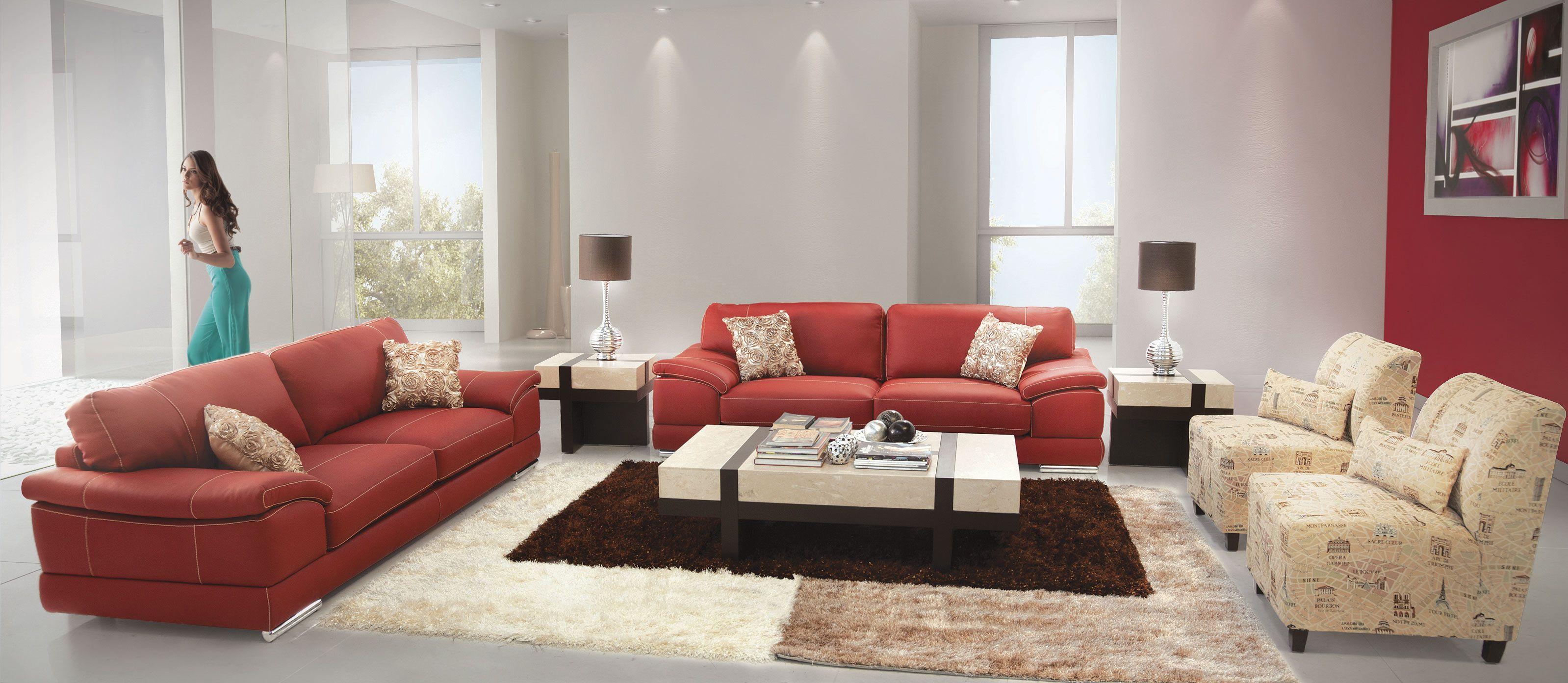 Sala Calathea Rosso de Placencia Muebles  Salas  Pinterest