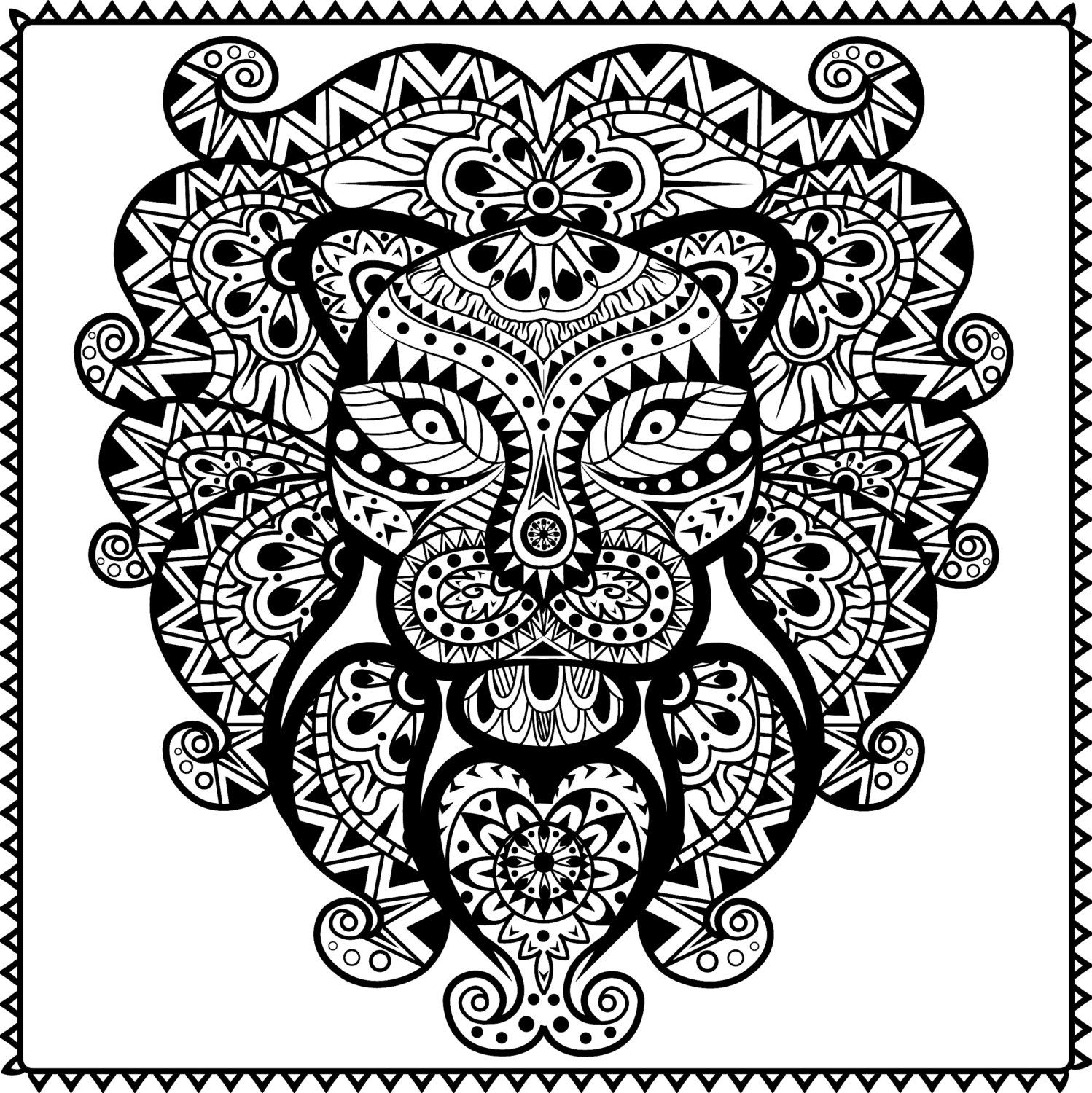 Abstract Tribal Lion Coloring Page For Adults Pdf Instant