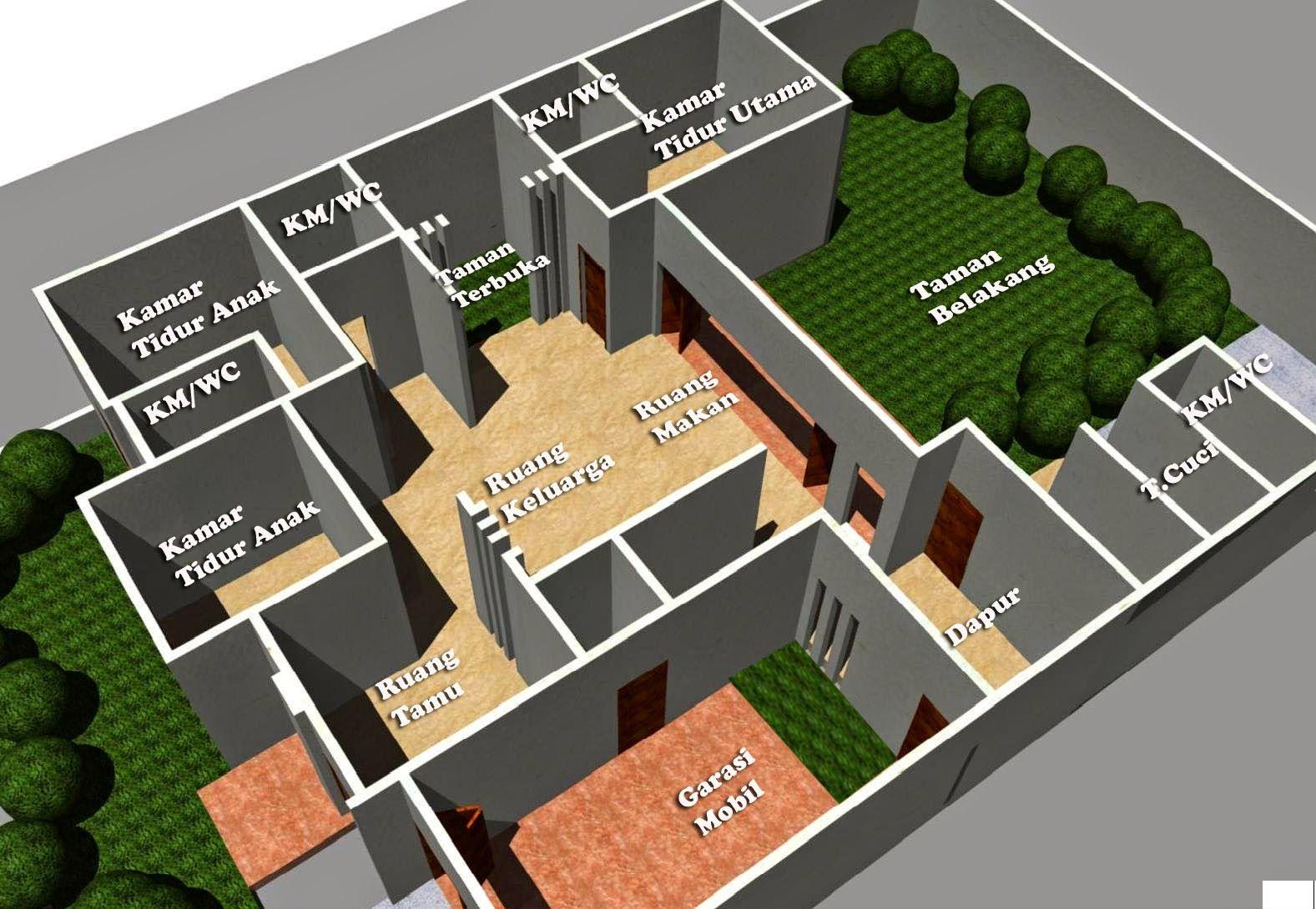 Desain Rumah Minimalis 1 Lantai 5 Kamar HOME Pinterest