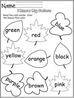 Free color worksheet. Perfect for the fall. Students read