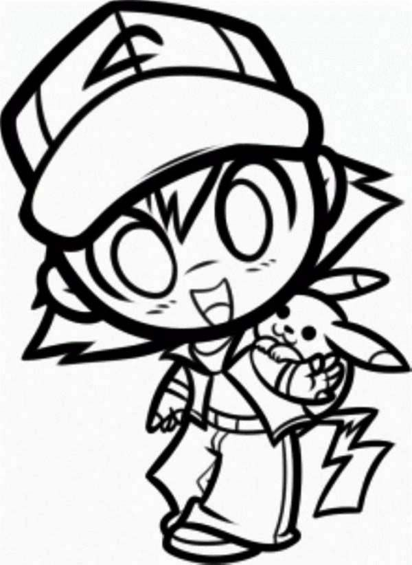 pikachu  ash and pikachu in chibi style coloring page