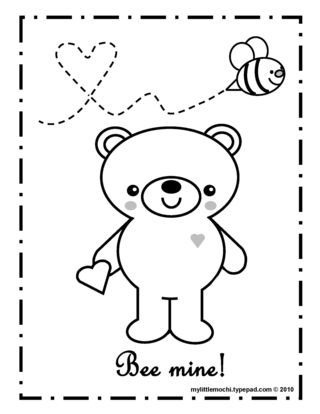 Love this cute Valentines coloring page for young kids