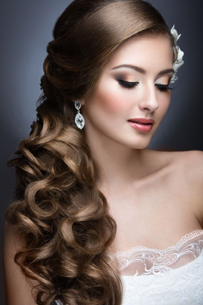 Brautfrisur fr lange glatte Haare  Brautfrisur  Pinterest  Glattes haar Brautfrisur und Glatt