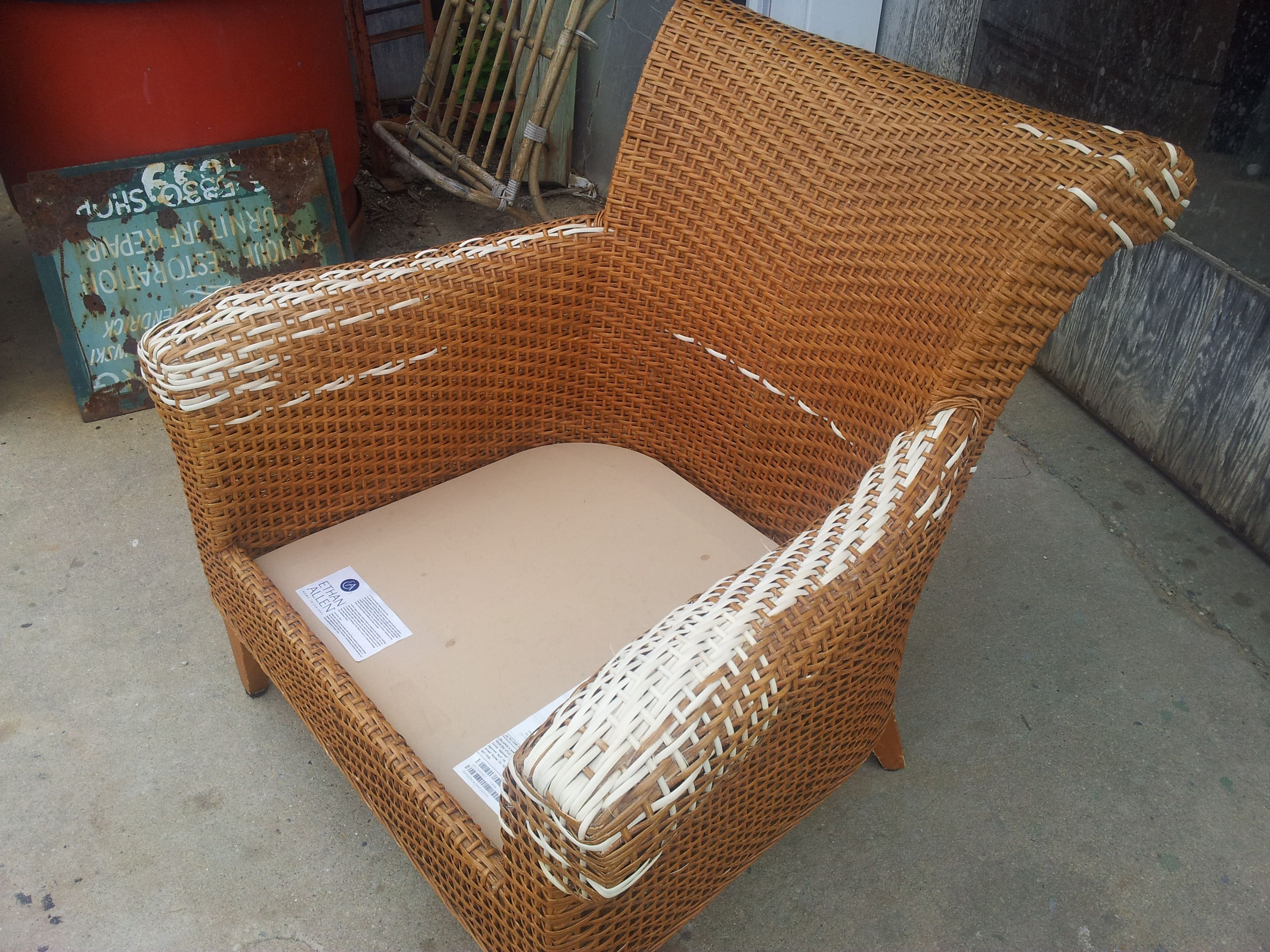 rattan chair repair kit dark gray covers ethan allen arm repaired caning rush wicker