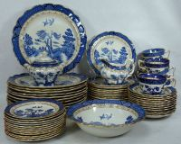 BOOTHS china REAL OLD WILLOW pattern 64-piece SET SERVICE ...
