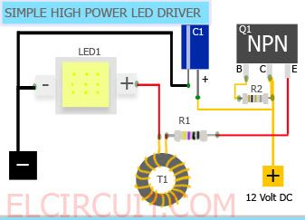 3w led driver circuit diagram what is the definition of simple high power 10w 12 volt , by using one transistor and other cheap ...