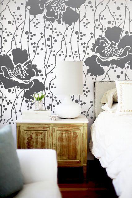 Wall stencil large flower pattern polka dot room decor made by omg stencils home improvements also sonata allower rh pinterest