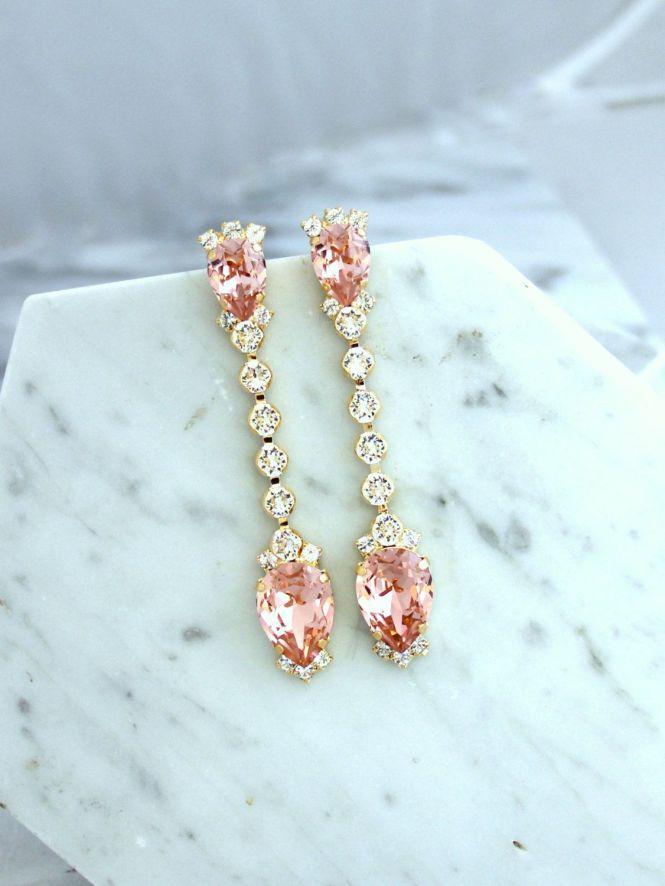 Bridal Earrings Blush Pink Chandelier Dusty Long Jewelry