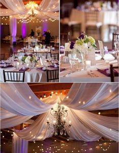 Wedding deco drapperies blanche fleur mauve reception decorationsreception ideasindoor also pinterest rh