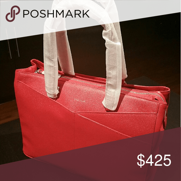 Unique Cole Haan Large Red Tote Bag This unique red Cole