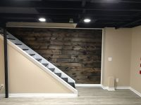 Wood plank wall coming down basement staircase. 1x8x8ft ...