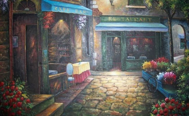 Cafe Scene Painted With Oils On Canvas Art For Sale