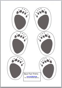 footprint patterns for a bear, duck, koala, snake, and
