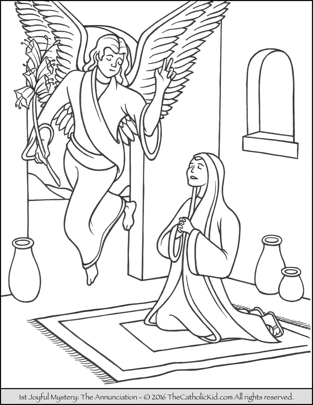 The 1st Joyful Mystery Coloring Page