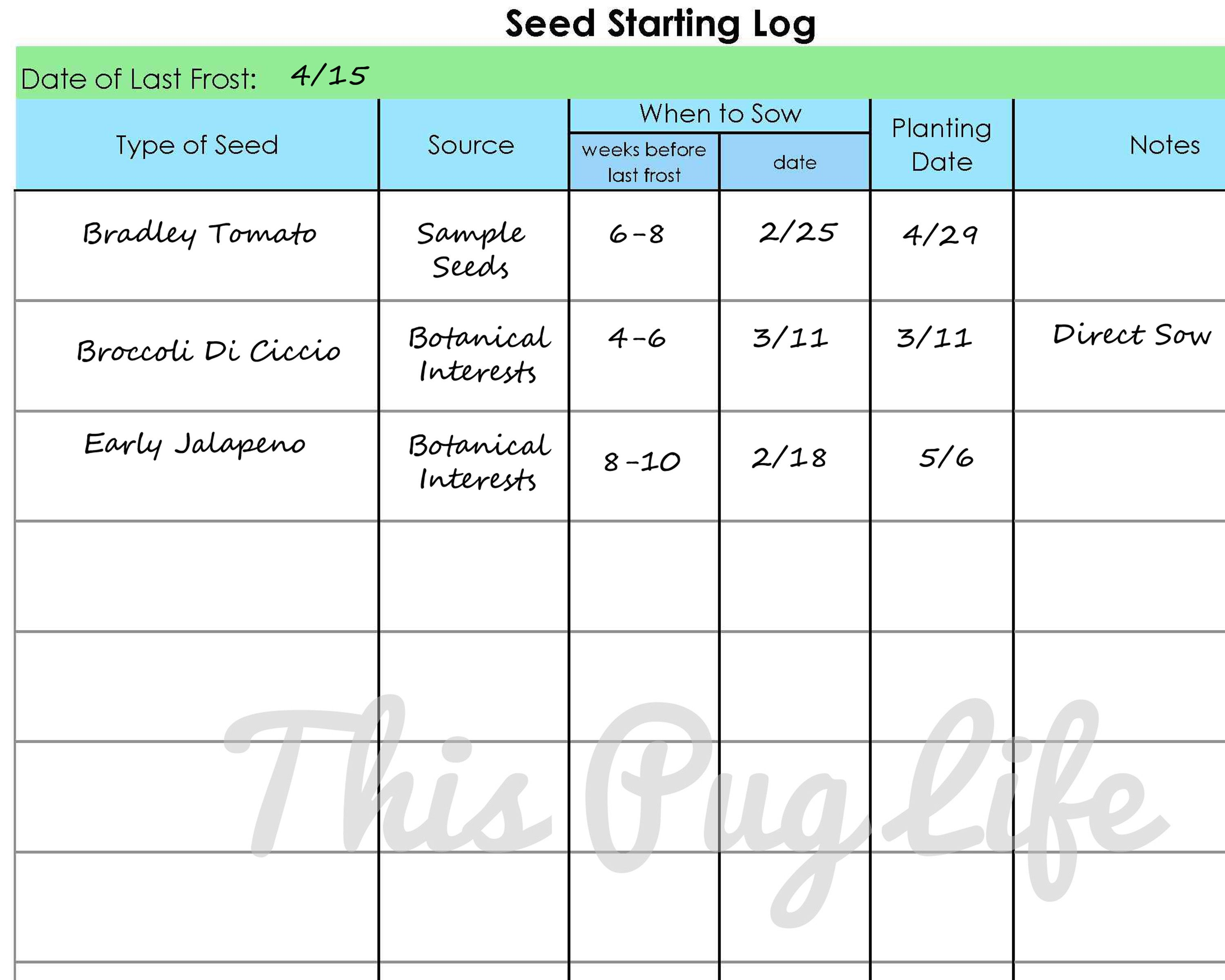 Garden Journal Printables Seed Starting Log