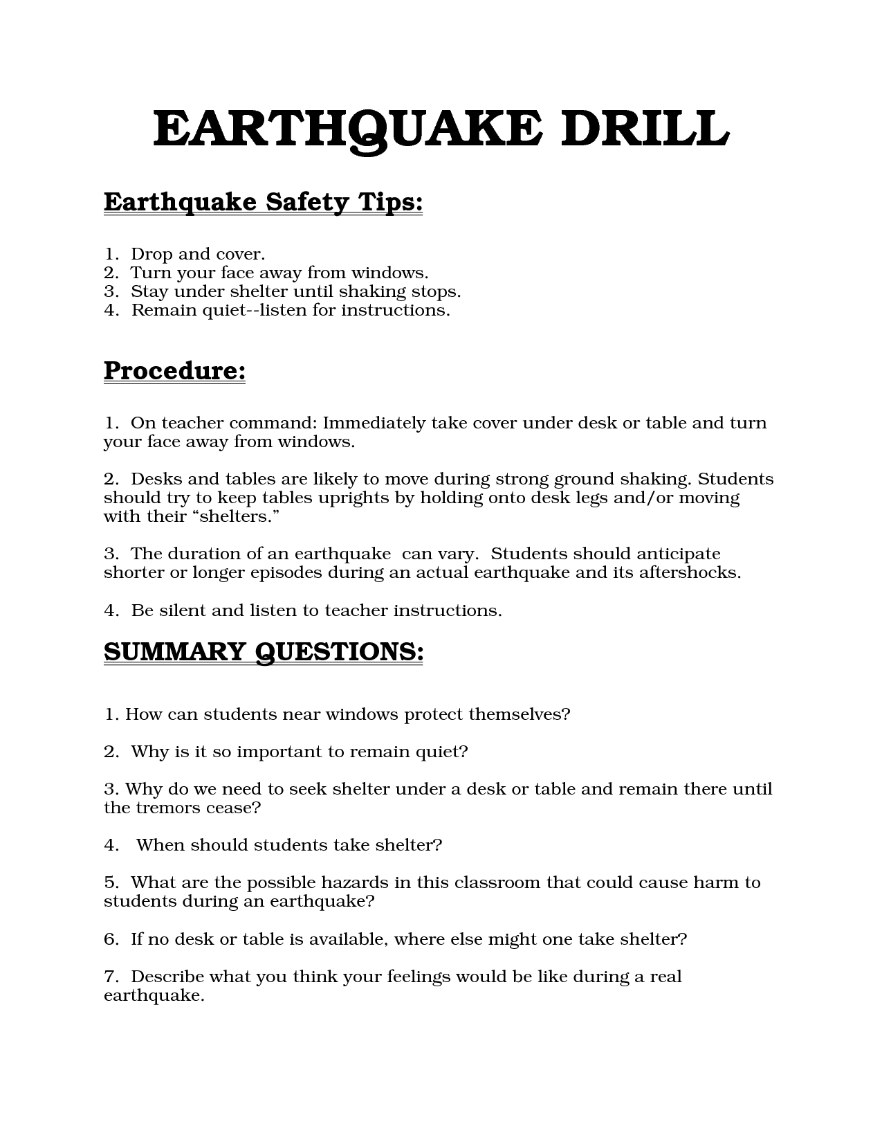 Earthquake Drill Procedures