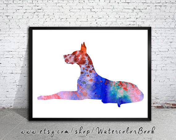 Great Dane Dog Watercolor Print Children's Wall Art Home Decor