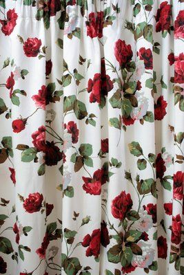 1950s Red Roses Curtains For The Home Pinterest To Be Red