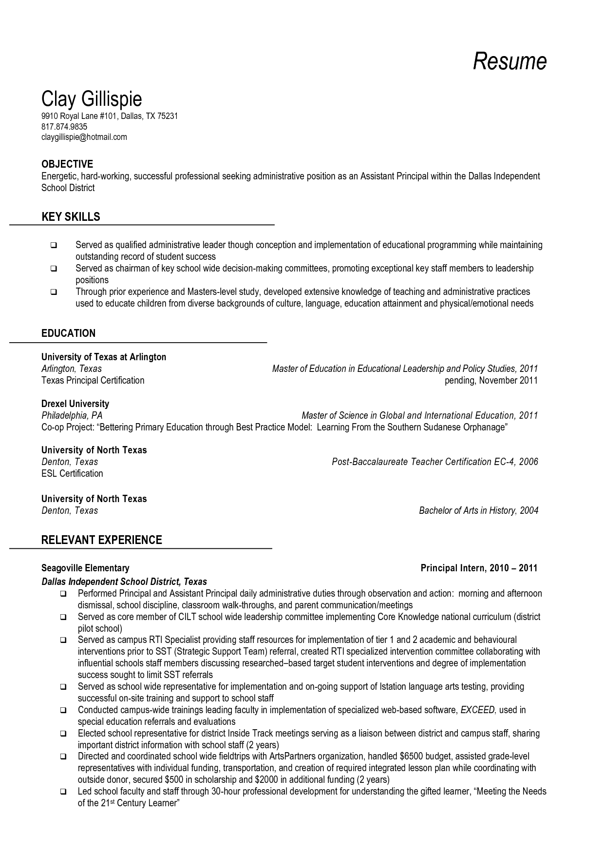 Principal Resume Format Resume And Vice Principal Vice Principal Resume Sample
