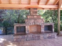 outdoor fireplace, wood boxes, raised hearth, fire brick ...