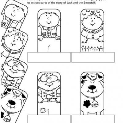 Jack and the Beanstalk Printable Finger Puppets. Print out