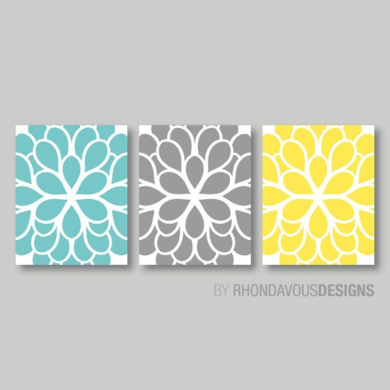 Teal blue yellow gray dahlia flower print trio home petals bloom wall art bedroom nursery bathroom you pick the size  colors also by rhondavousdesigns rh pinterest