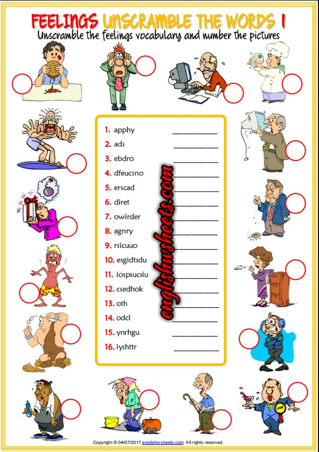 Feelings Emotions Esl Printable Unscramble The Words Worksheets For Kids