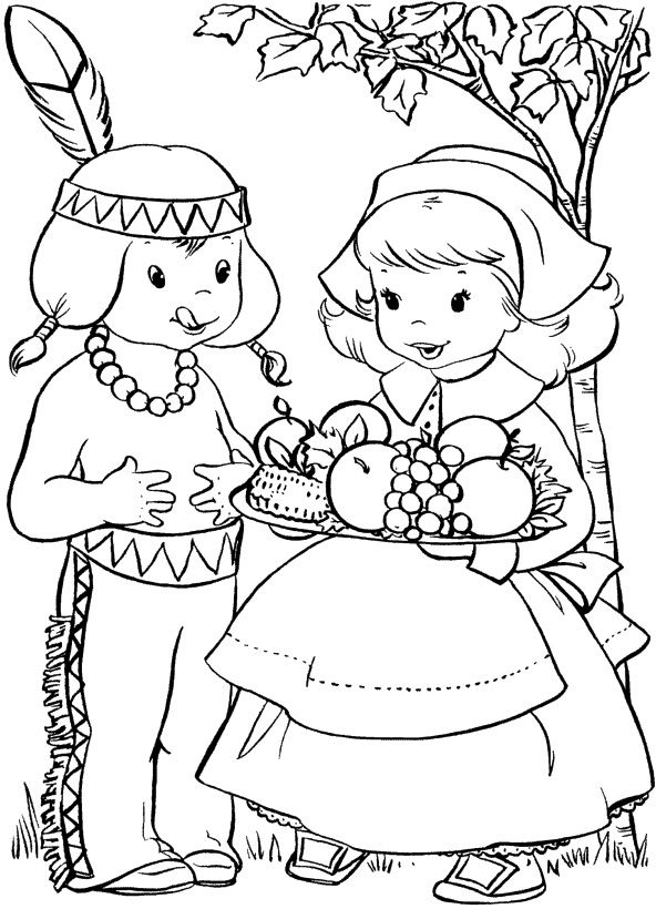 Boy Thanksgiving Food Coloring Page @Kristin Batykefer
