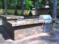 Cinder Block Outdoor Table with grill and bar | Green ...
