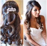 Half up half down hairstyle curls, bridal, hair comb ...