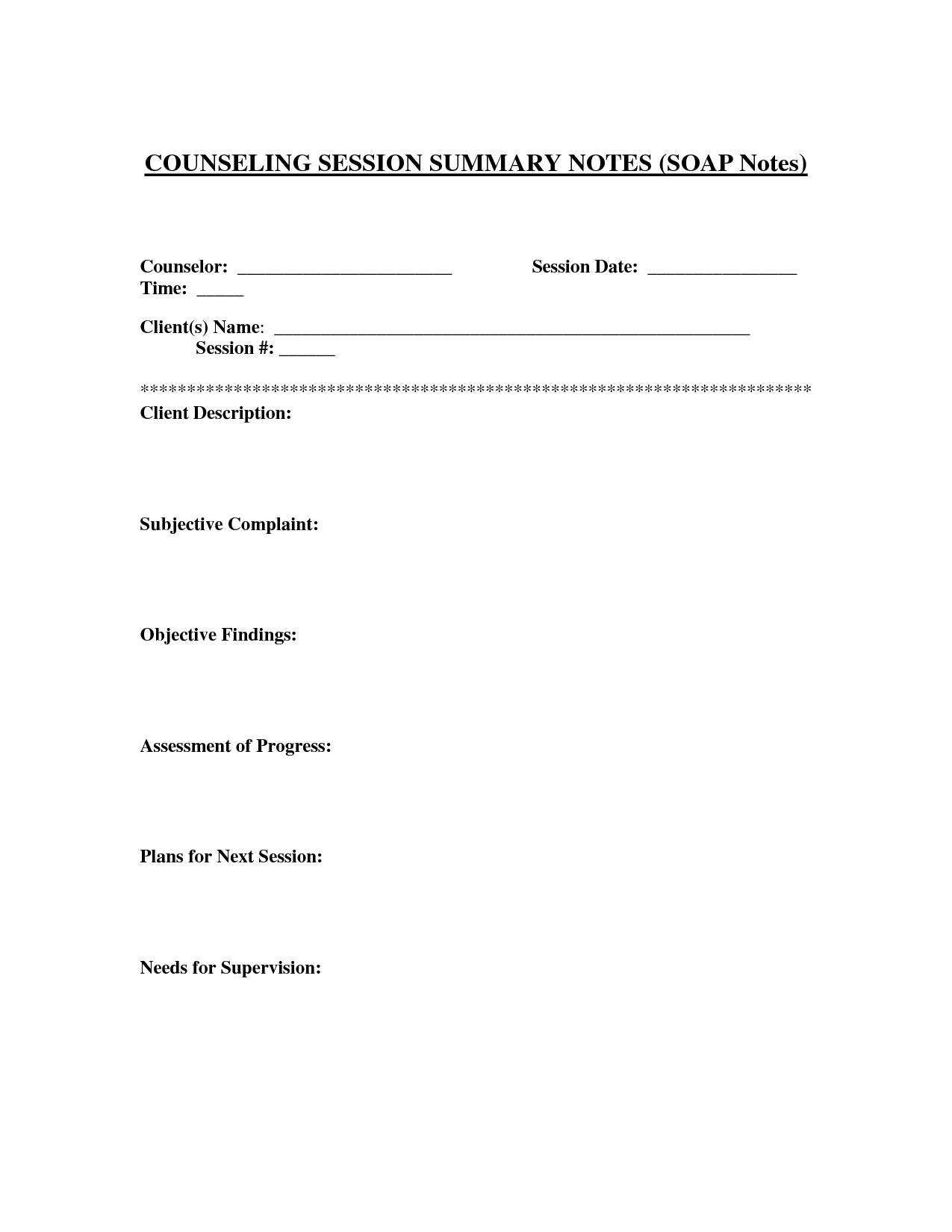 Soap Notes Template For Counseling