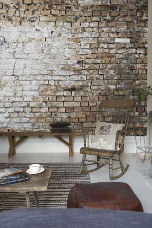 Stenen muur in de woonkamer stenen muur interieur