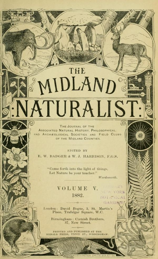 1882 Volume Of Midland Naturalist Complete With