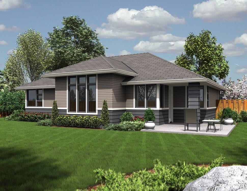 Rear Rendering Of Mascord Plan 1169ES The Modern Ranch Ideas