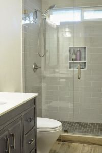 Walk in Shower, Small bathroom with niche and brushed ...