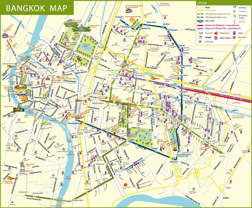 about bts bangkok thailand airport map detail for