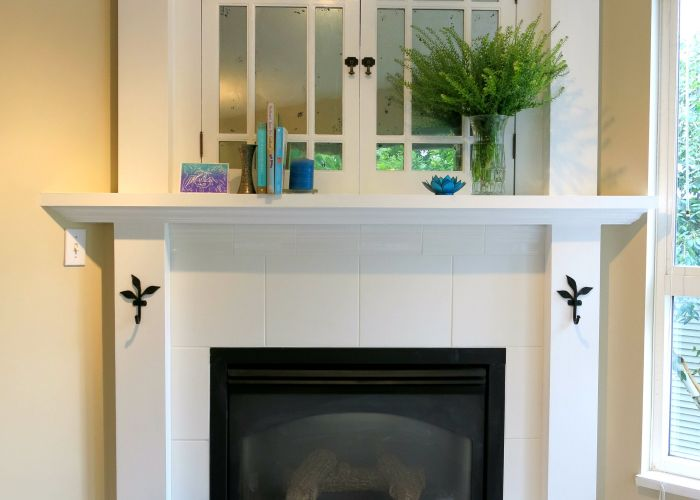 Faux mercury glass old cabinet doors white tile fireplace surround vintage  also corner electric with