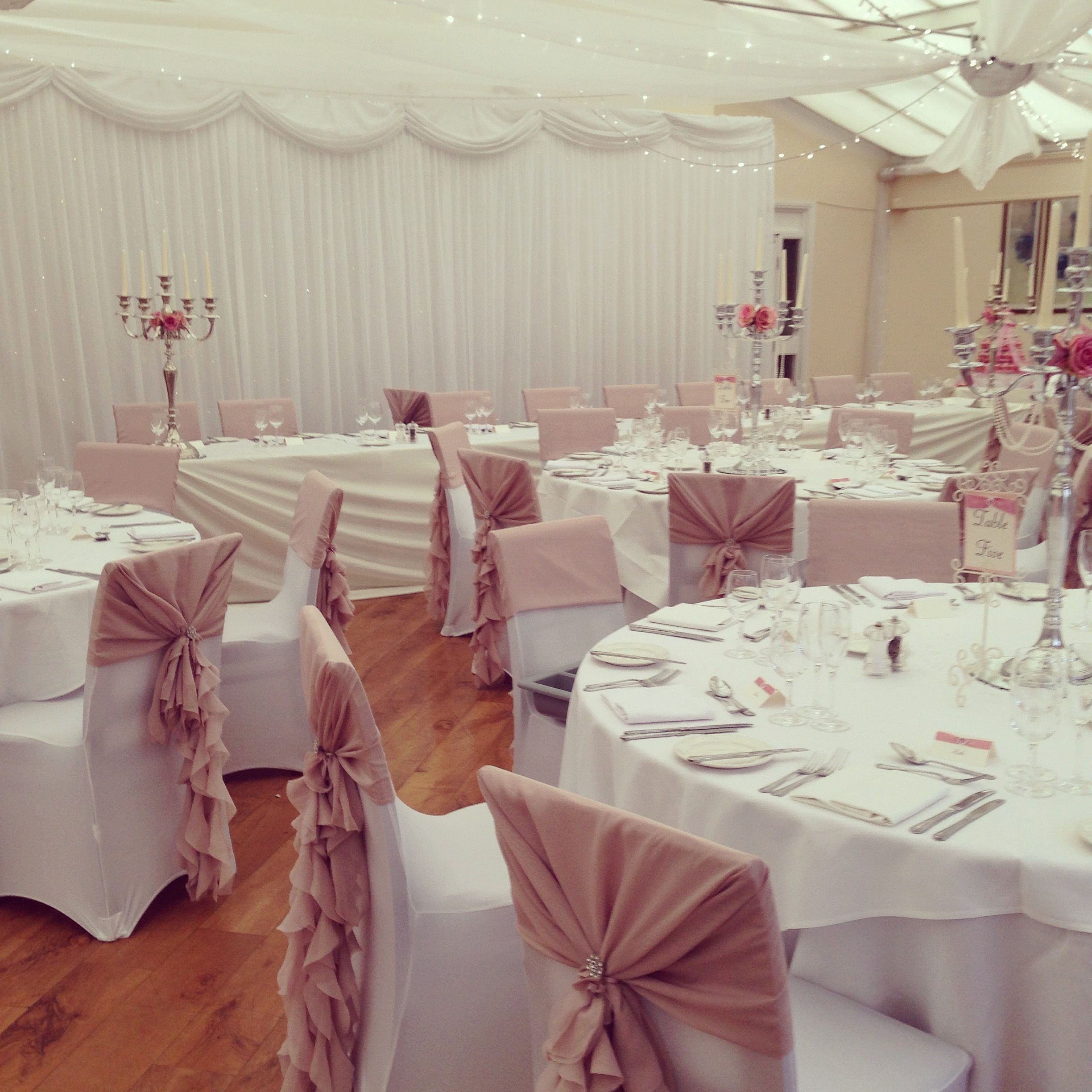 wedding chair covers warrington robins egg blue dusky pink ruffle hoods with diamante brooches over