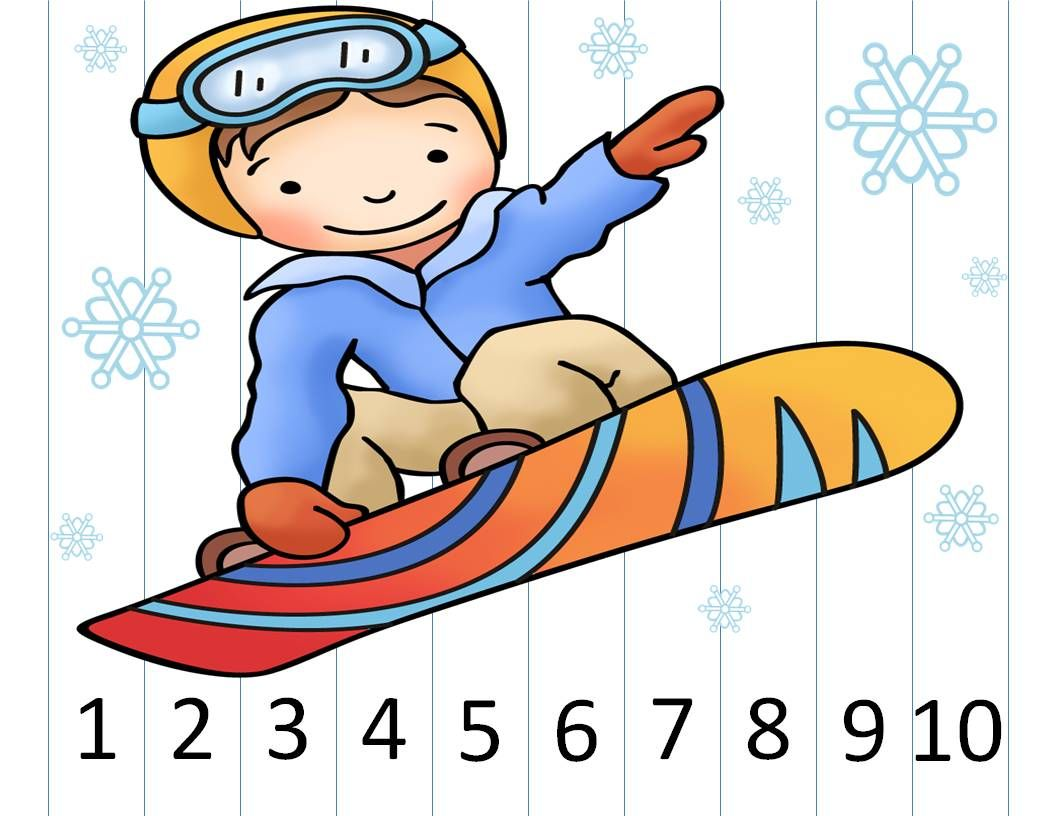 Number Puzzles Winter Sports Ccls Prek Kindergarten 1st