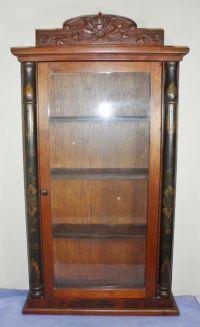 Antique Vintage Carved Wooden Glass Curio Knick Knack