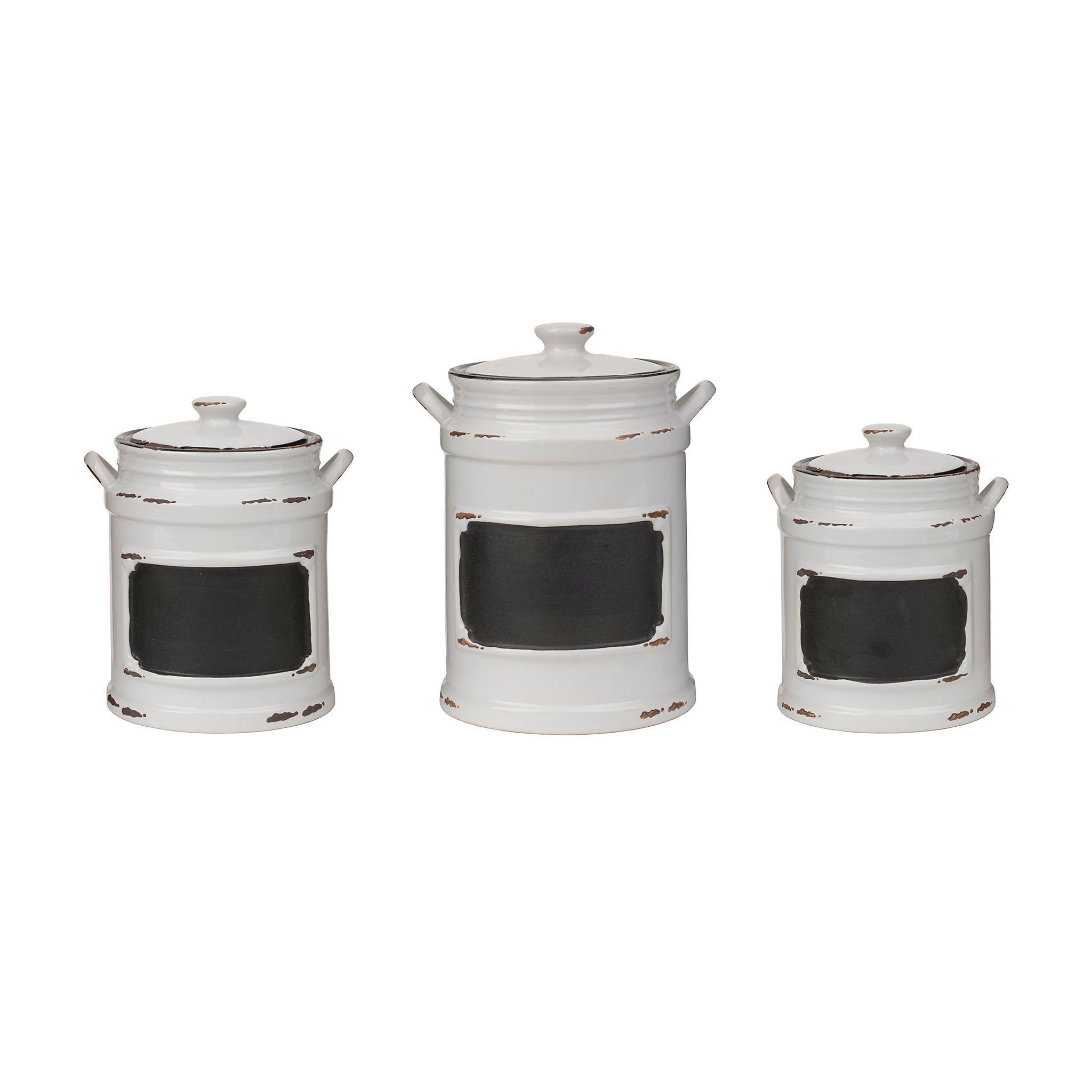 kitchen storage canisters modular outdoor frames vintage white chalkboard set of 3 canister sets
