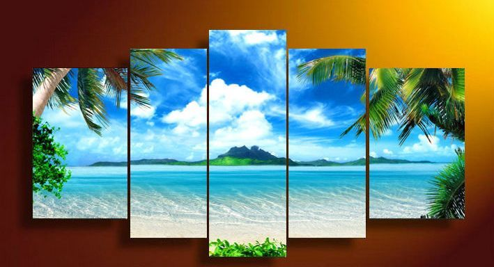 Cool framed panel wall art canvas blue sky and white clouds sea pictures decor living also rh za pinterest